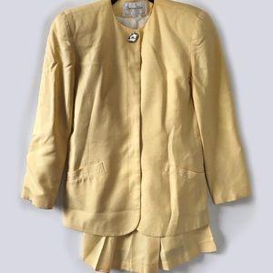 Vintage Christian Dior Pastel Yellow Skirt Suit 6